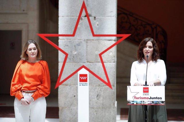 La presidenta de la Comunidad de Madrid, Isabel Díaz Ayuso, y la consejera de Cultura y Turismo, Marta Rivera, presenta la estrategia de turismo regional tras la crisis del coronavirus.