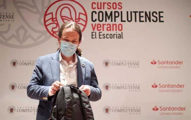 El vicepresidente segundo del Gobierno, Pablo Iglesias,  en los Cursos de Verano en San Lorenzo de El Escorial
