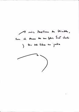 Dedicatoria digital del escritor Lorenzo Silva en su libro electrónico 'El mal de Corcira' en el Día del Libro y Diada de Sant Jordi del 23/7/2020, aplazada hasta esta fecha por el coronavirus