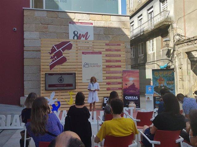La presidenta de la Diputación de Pontevedra, Carmela Silva, durante la presentación