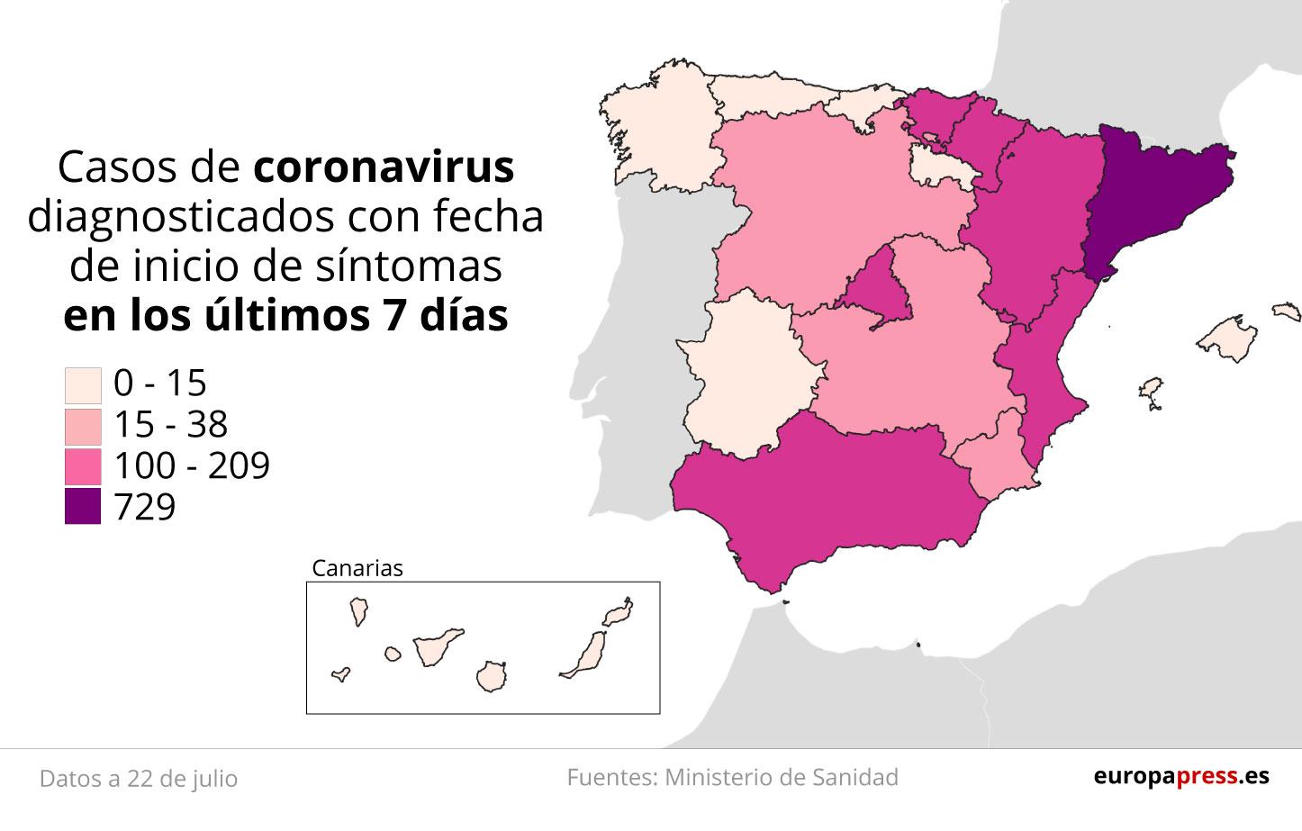 Mapa con casos de coronavirus diagnosticados con fecha de inicio de síntomas en los últimos 7 días