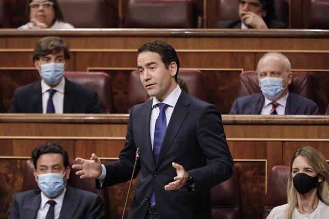 El secretario general del PP, Teodoro García Egea, interviene durante una sesión plenaria en el Pleno del Congreso. En Madrid, a 22 de julio de 2020.