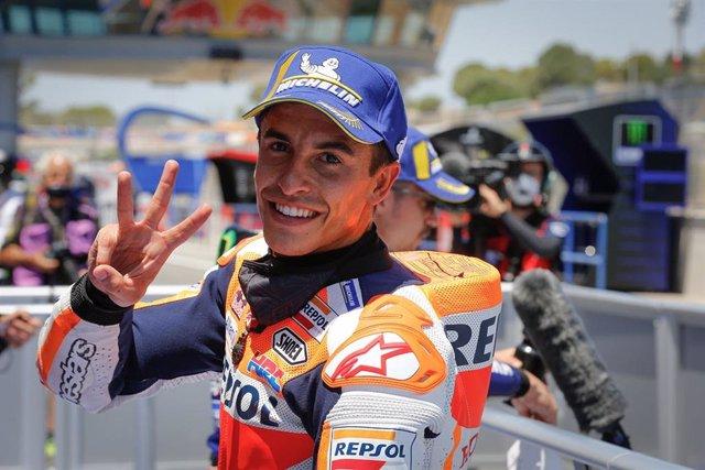 El piloto español de MotoGP Marc Márquez (Repsol Honda) en el GP España 2020, en el Circuito de Jerez-Ángel Nieto