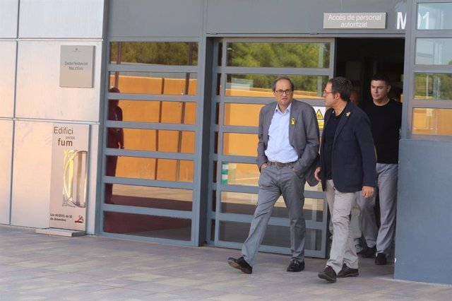 El president de la Generalitat, Quim Torra, a la presó de Mas d'Enric després de visitar l'expresidenta del Parlament Carme Forcadell.