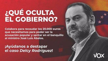 Vox recauda en 24 horas los 20.000 euros necesarios para ejercer la acusación popular en el 'caso Delcy'