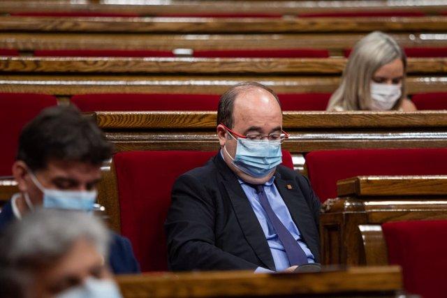 El líder del PSC, Miquel Iceta, durant un ple de control al Govern de la Generalitat. Barcelona, Catalunya (Espanya), 22 de juliol del 2020.