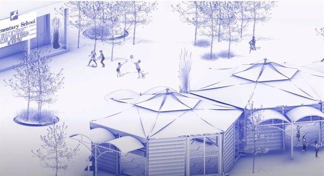 DIbujo del modelo hexagonal propuesto por el estudiante universitario Enrique Cilleruelo para la vuelta a clase frente al COVID-19