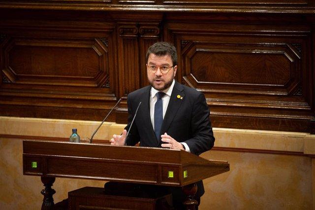 El vicepresident de la Generalitat, Pere Aragonès, intervé al Parlament.