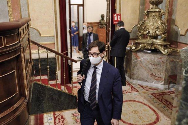 El ministro de Sanidad, Salvador Illa, a su llegada a la penúltima sesión plenaria en el Congreso de los Diputados antes del paréntesis estival, en Madrid (España), a 22 de julio de 2020. El pleno, aborda, entre otros temas, las medidas de emergencia del