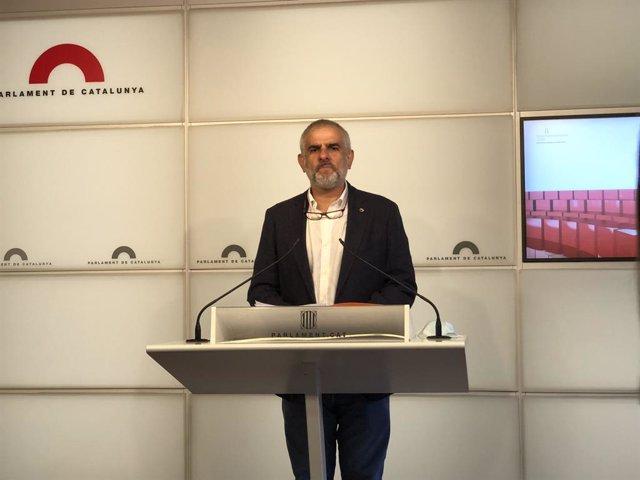El president de Cs al Parlament, Carlos Carrizosa, en roda de premsa aquest dijous 23 de juliol
