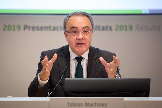 El consejero delegado de Cellnex Telecom, Tobías Martínez, en la rueda de prensa en febrero para presentar los resultados del año 2019