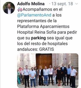 Tuit de Adolfo Molina de 2018 reclamando la gratuidad para el parking del Reina Sofía.