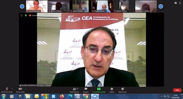 Imagen de la reunión telemática de los órganos directivos de la CEA. En primer plano su presidente, Javier González de Lara.