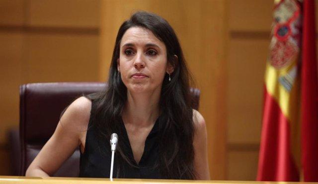 La ministra de Igualdad, Irene Montero, interviene en la comparecencia en Comisión de su departamento, en Madrid (España), a 25 de junio de 2020.