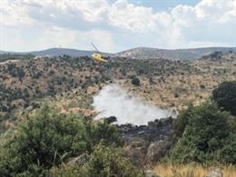 Imagen del incendio en Villa del Prado, ya controlado.