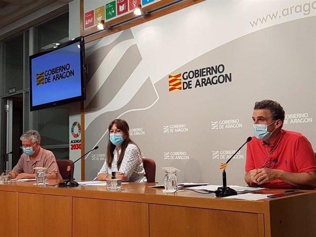 La consejera de Sanidad, Sira Repollés, acompañada de los responsabes de Salud Pública, Fracisco Javier Falo, y del Salud, Javier Marión.