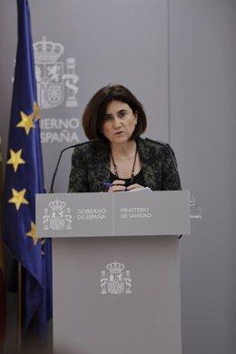 La jefa de área del Centro de Coordinación de Alertas y Emergencias Sanitarias –CCAES-, María José Sierra, interviene en una rueda de prensa para informar de la evolución de la COVID-19 en el Ministerio de Sanidad, en Madrid (España).