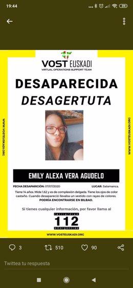 Imagen de la menor desaparecida en Salamanca difundida en redes sociales por Guardia Civil.