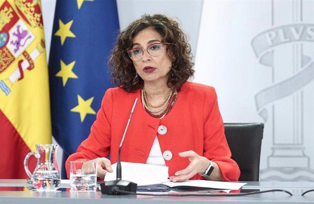 La ministra portavoz y de Hacienda, María Jesús Montero, durante su intervención en la rueda de prensa posterior al Consejo de Ministros en Moncloa, en Madrid (España), a 7 de julio de 2020.