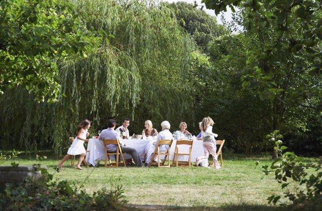 Familia, comida familiar, comida en el campo