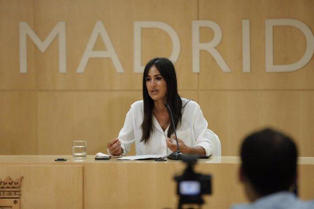 La vicealcaldesa de Madrid, Begoña Villacís, durante la presentación del concurso de ideas para el Bosque Metropolitano, en el Palacio de Cibeles, Madrid (España), a 9 de julio de 2020.