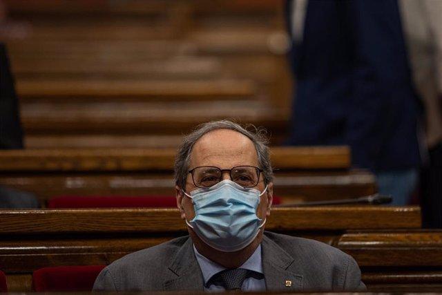 El president de la Generalitat, Quim Torra, durante un pleno de control al Gobierno de la Generalitat, marcado principalmente por la gestión del COVID-19, en Barcelona, Cataluña (España), a 22 de julio de 2020.