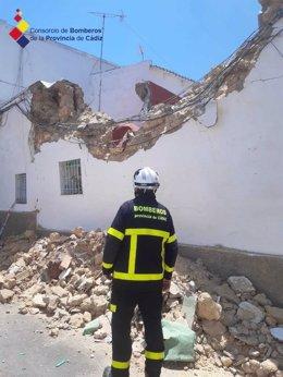 Estado de la casa de Chiclana tras la explosición de una bombona de gas