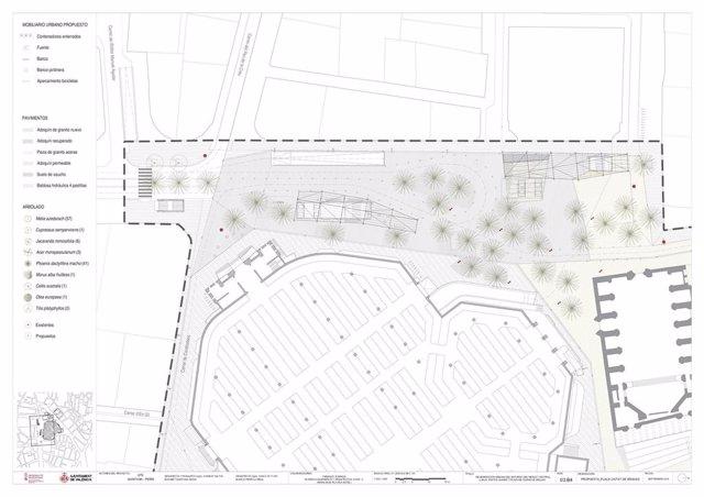 Plano de regeneración de la plaza Ciudad de Brujas de València