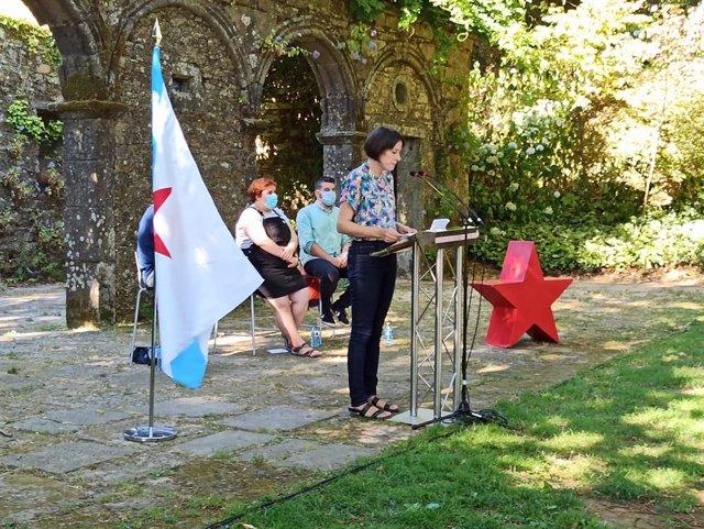 La portavoz nacional del BNG, Ana Pontón, interviene en el acto organizado por Galiza Nova en homenaje a Rosalía y Castelao