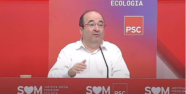 El primer secretario del PSC, Miquel iceta, en la reunión interparlamentaria del PSC a 25 de julio de 2020.