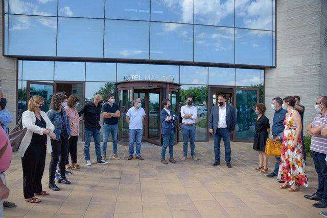 Encuentro de Oriol Junqueras, Pere Aragonès, Roger Torrent y Raül Romeva (ERC) con alcaldes, en Santa Coloma de Farners (Girona) el 25/7/2020
