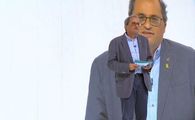 El president de la Generalitat, Quim Torra, intervé en l'acte de presentació de JxCat.
