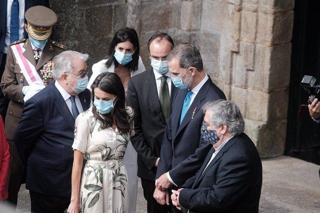 Los Reyes Felipe y Letizia durante los actos oficiales con motivo de la festividad de Santiago Apóstol en Santiago de Compostela (Galicia), a 25 de julio de 2020.
