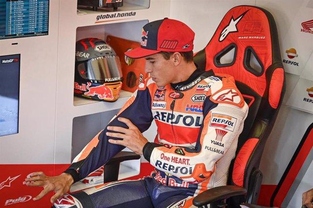 El piloto español de MotoGP Marc Márquez (Repsol Honda), en el GP de Andalucía 2020 antes de decidir no correr el domingo, en el Circuito de Jerez-Ángel Nieto
