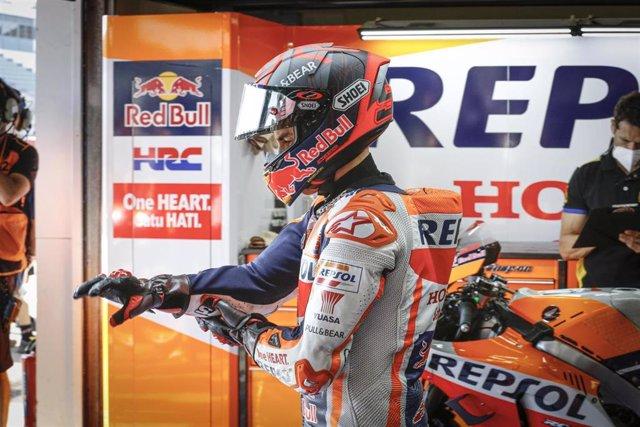 El piloto de MotoGP Marc Márquez (Repsol Honda) en el GP Andalucía 2020, antes de retirarse en la Q1