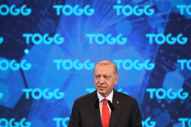El presidente de Turquía, Recep Tayyip Erdogan, en un acto en un centro de producción