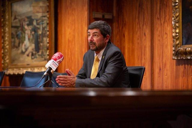 El president de la Càmera de Barcelona, Joan Canadell, durant l'entrevista