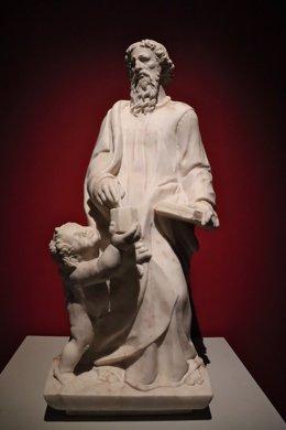 Escultura de San Mateo de la parroquia de La Nava de Santiago