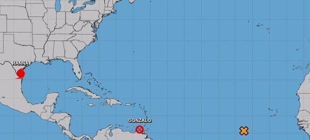 Imagen actual del huracán 'Hanna' ofrecida por el Centro Nacional de Huracanes de Estados Unidos.
