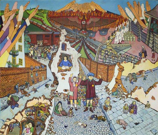 Niños judíos en el gueto de Varsovia y en los campos de exterminio. Pintura de Israel Bernbaum, 1981. Óleo sobre lienzo.