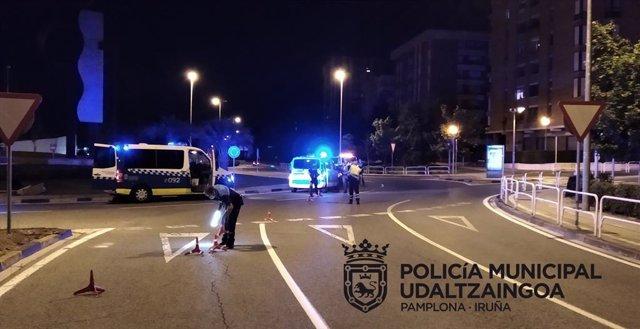 Control de la Policía Municipal de Pamplona.