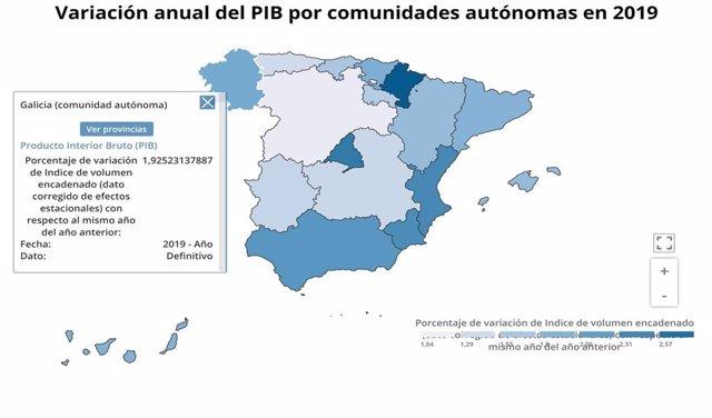 Crecimiento de PIB por comunidades en 2019