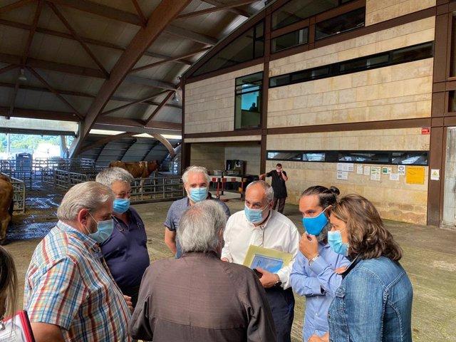 Representantes del PP se reúnen con ganaderos en el mercado de Siero