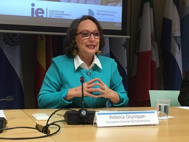 La secretaria general iberoamericana, Rebeca Grynspan, en la presentación de un estudio en la sede de la SEGIB en Madrid