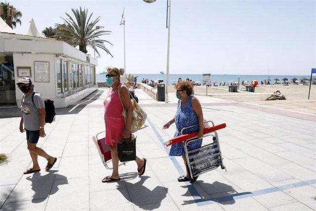Paseo de la playa de La Malagueta. En Málaga (Andalucía, España).