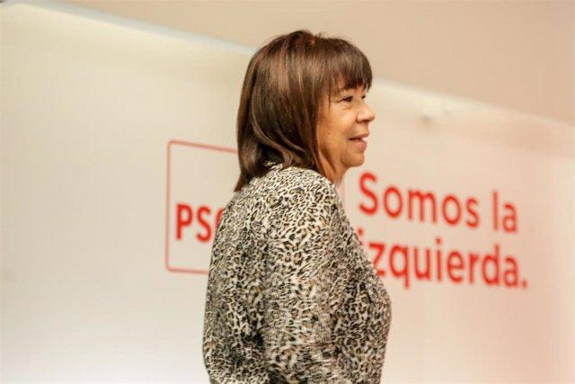 La presidenta del PSOE, Cristina Narbona, a su llegada a la rueda de prensa posterior a la reunión de la Comisión Ejecutiva Federal del PSOE celebrada esta mañana en la sede de la calle Ferraz, en Madrid (España), a 2 de marzo de 2020.