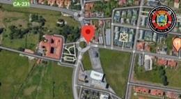 Rotonda de Corbán donde se ha registrado un accidente de tráfico con dos heridas muy graves, una de las cuales ha fallecido
