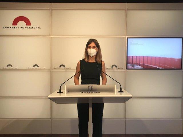 La líder dels comuns al Parlament, Jéssica Albiach, aquest dilluns en una conferència de premsa