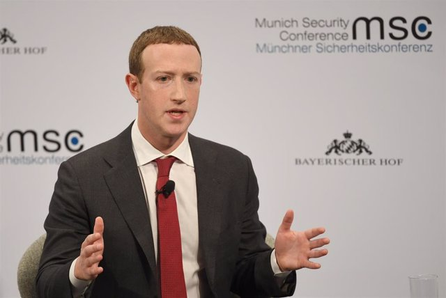 dpatop - 15 February 2020, Bavaria, Munich: Mark Zuckerberg, Chairman of Facebook, speaks during the 56th Munich Security Conference. Photo: Sven Hoppe/dpa