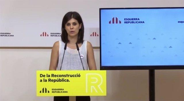 La portaveu i secretària general adjunta d'ERC, Marta Vilalta, en una roda de premsa telemàtica.